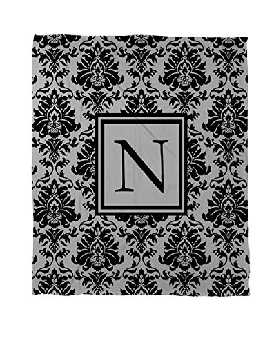 Thumbprintz Coral Fleece Throw, 50 By 60-Inch, Monogrammed Letter N, Black And Grey Damask front-727864