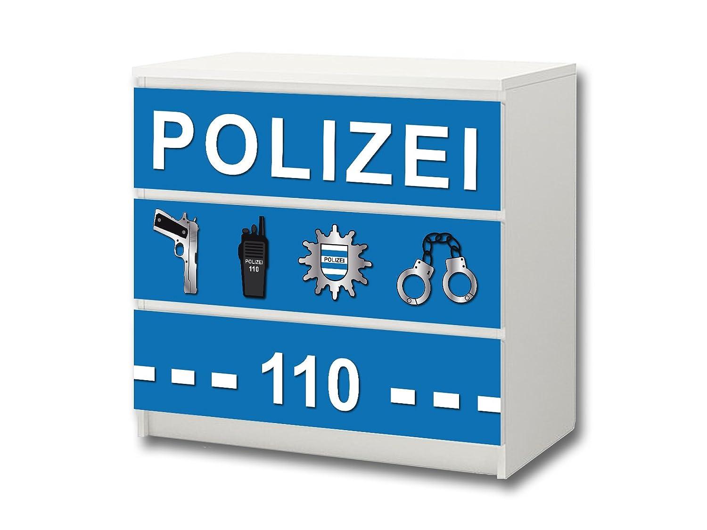 """""""Polizei"""" Möbelsticker / Aufkleber – M3K21 – passend für die Kommode mit 3 Fächern / Schubladen MALM von IKEA – Bestehend aus 3 passgenauen Kinderzimmer Möbelfolien (Möbel nicht inklusive) günstig bestellen"""