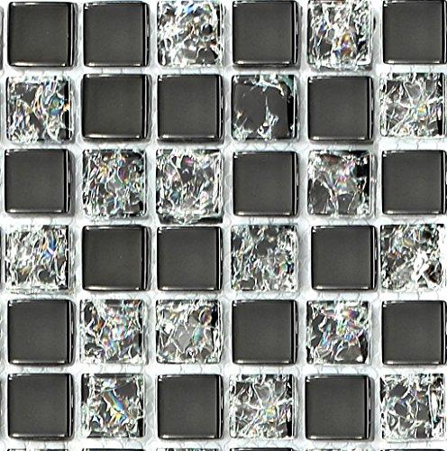 Glas Mosaik Fliesen Muster Schwarz mit gebrochener Glas Optik und klarem Glas MT0043 Muster