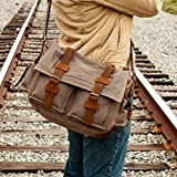 GEARONIC TM Men's Vintage Canvas Messenger Bag Shoulder and Leather Satchel School Military - Gray