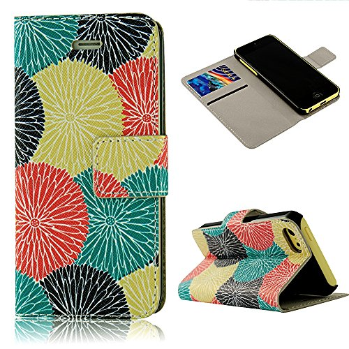 5C Case, Iphone 5C Case - Mollycoocle Fashion Style Painted Colorful Flowers Pattern Wallet Style Credit Card Holder Case Magnetic Design Flip Folio Pu Leather Cover Standup Cover Case For Iphone 5C