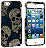 myLife Abstract White + Blue Paisley Skulls Series (2 Piece Snap On) Hardshell Plates Case for the iPhone 5/5S (5G) 5th Generation Touch Phone (Clip Fitted Front and Back Solid Cover Case + Rubberized Tough Armor Skin)