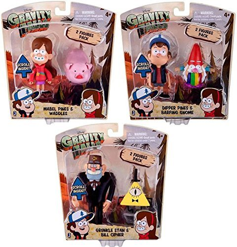 Gravity Falls 3-Inch Action Figure Bundle: Dipper Pines & Barfing Gnome, Mabel Pines & Waddles, Grunkle Stan & Bill Cipher by Gravity falls