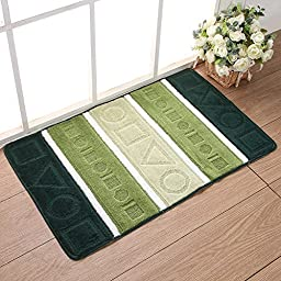 Samloo Durable Non Slip Polypropylene Jacquard Doormat Entrance Rug Bedroom Bathroom Kitchen Toilet Water Absorption Floor Mat (18 inch by 30 inch, Geometry Green)