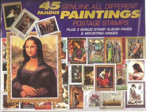 45 Genuine Postage Stamps Assortment - Paintings - 1