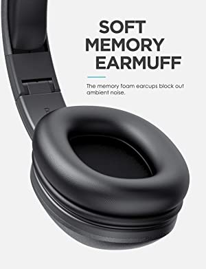 Mixcder HD901 Lightweight Wireless Headphones, Hi-Fi Stereo Blutooth Headphones with Microphone, Comfortable Wireless Headset with Soft Protein Earmuf