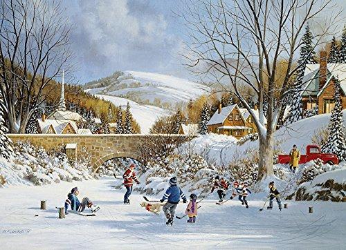 Cobble Hill Hockey on Frozen Lake 1000 Piece Jigsaw Puzzle