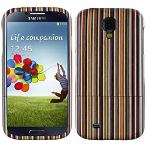 Skque® Colored Stripe Wood Wooden Hard Back Case Cover for Samsung Galaxy S4 I9500