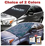 SnowOFF LARGE Windshield Snow Cover FITS ANY CAR, SUV Truck Van - WINDPROOF Straps, Wings, Suction Cups, Magnets - BONUS Demist Cloth + Blanket - Winter Ice Rain Frost Guard Automotive Hood Cover