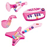 4-in-1 Musical Instruments Band Playset for Kids - Comes with Keyboard, Guitar, Saxophone & Trumpet (with Lights and Music Volume Control) (Pink)