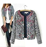 Europe Vintage Autumn Blue White Porcelain Retro Print Cotton Jackets S M L