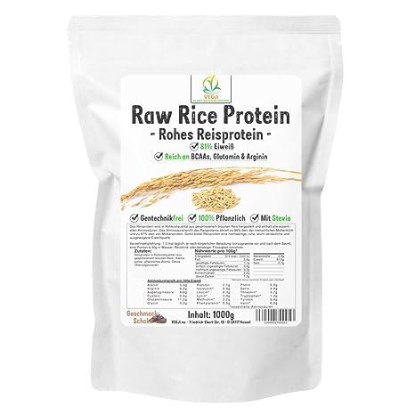 Raw Rice Protein Isolate 1000g Schoko, Reisproteinisolat in Rohkostqualität, vegan, mit Stevia