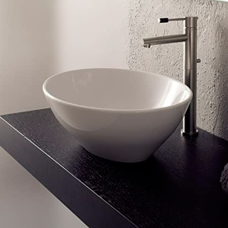 Scarabeo Scarabeo 8011-No Hole-637509844714 Designer Ceramic Sink Vessel, White