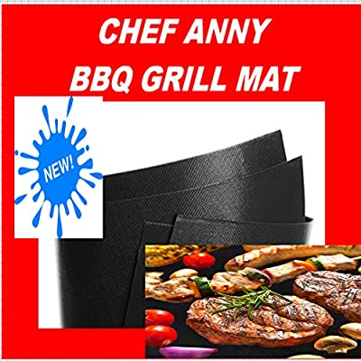 "Chef Anny Grill Mat Set of 2 -Lifetime Guarantee- Non Stick Grilling Mats 16 x13"" Use on Gas, Charcoal, Electric BBQ Grills.Reusable"