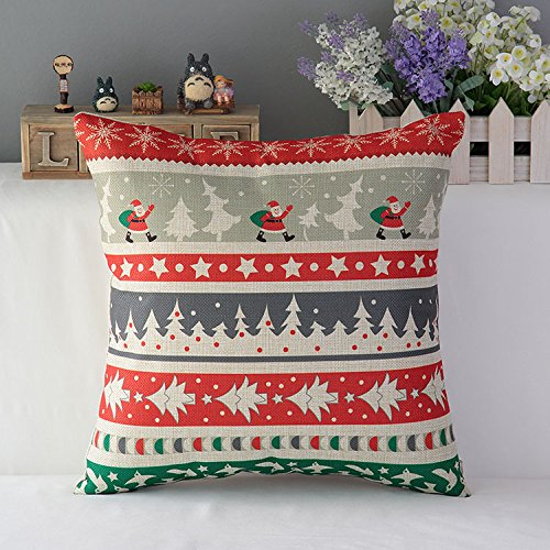 SimpleDecor Linen Cotton Celebrate Christmas Accent Decorative Throw Pillow