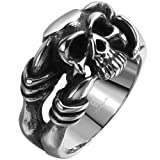 Men's Stainless Steel Dragon Claw Skull Ring Band Vintage Fashion Gothic Biker Punk Rock Silver Black Size 8
