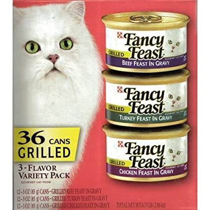 Fancy Feast  3-Flavor Variety Pack Cat Food: Beef Feast in Gravy, Turkey Feast in Gravy and Chicken Feast in Gravy 36/3oz Cans