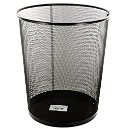 Vilgoss Metal Mesh Round Wastebasket, Large, Black
