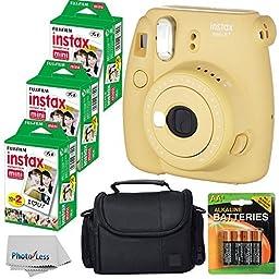 Fujifilm Instax Mini 8+ (Honey)Instant Film Camera W/ Self Shot Mirror + Fujifilm Instax Mini 3 Pack Instant Film(60 Shoots) + Case + Batteries Top Kit - International Version (No Warranty)