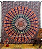 """Indian Peacock Deep Blue Hippie Hippy Boho Meditation Mandala Tapestries Tapestry Wall Hanging Indian Wall Art 86x94"""" By Bhagyoday"""