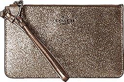 Coach Glitter Sm Corner Zip Wristlet-Silver/Gold