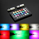 2 Pcs w5w LED Atmosphere lights T10 RGB LED Bulbs with Remote Controller RGBW 501 194 168 6SMD 5050 Silicone Strobe lights Car Wedge Side Light 12V (Pack of 2) (Color: 2 Bulbs + Controller)