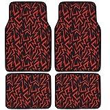 BDK Shock Wave Lighting Carpet Floor Mats For Car - Universal Fit (Red)