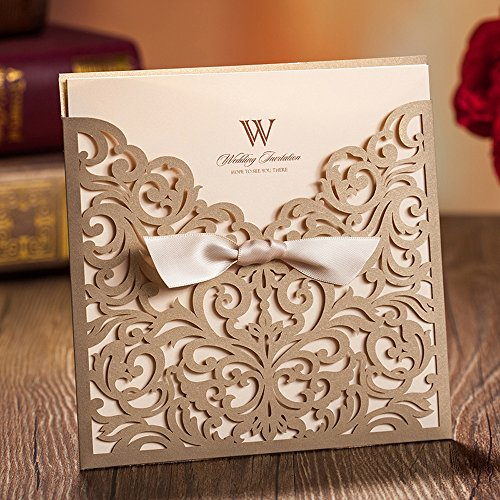 Wishmade 50x Gold Square Laser Cut Tri-fold Wedding Invitations Cards with Bow Lace Sleeve Invitations for Engagement Baby Shower Birthday Quinceanera (set of 50pcs) CW5011 5
