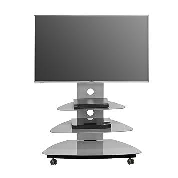 Maja 16399505TV Stand 900x 1.211x 490mm Black Metal With Glass Platinum Grey