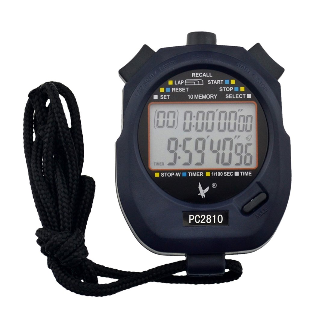 inkint ® Handheld Digital LCD Sports Stopwatch Professional Chronograph Counter Timer with Strap 1 1 lcd digital sports stopwatch with whistle