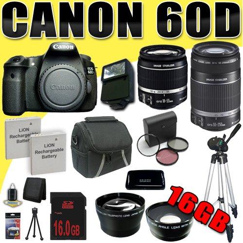 Canon EOS 60D 18 MP CMOS Digital SLR Camera w/ EF-S 18-55mm f/3.5-5.6 IS Lens & EF-S 55-250mm f/4.0-5.6 IS Telephoto Zoom Lens Wide Angle/Telephoto 16GB DavisMAX Bundle