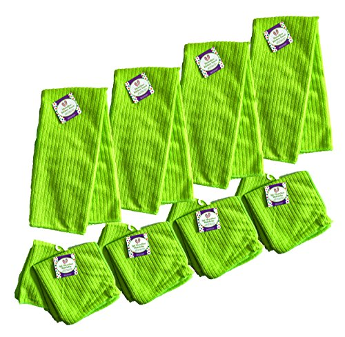 Set of 12 Lime Green Microfiber Kitchen Towels (25