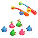 Fajiabao Bath Toys For Kids Age 3 4 5 Bathtub Fun Toys Fishing Game with Cute Spotted Fish and Fishing Rod, Toy Ideal Gift for Toddlers Boys Girls Kids Children Bathtub Fun Time Set of 2 (Color Vary)