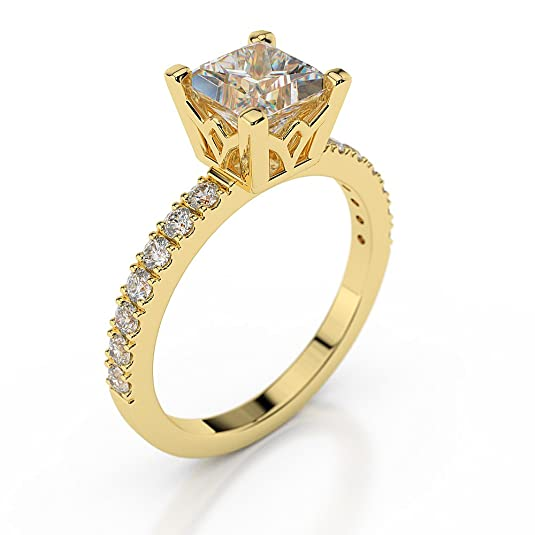 0.70 CT Diamond Engagement Ring Genuine Princess Cut Main Stone H/SI1 (Clarity Enhanced) 18ct Yellow Gold Pave