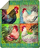 Manual Quilted Throw, 50 by 60-Inch, Boho Roosters by Susan Winget