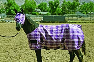 Kensington KPP Weanling/Pony Horse Protective Fly Sheet, Blue Ice Plaid, 50-Inch to 58-Inch