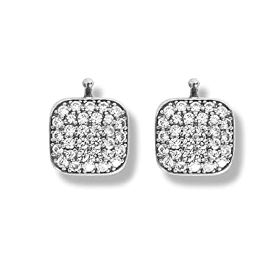 Heide Heinzendorff Pair of Rhodium-Plated Silver Pendant with Zirconia 11 x 11 x 4 mm
