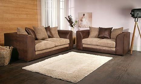 Dylan Byron Portobello Brown & Coffee Jumbo Cord & Rhino Sofa Couch 3+2 Seater