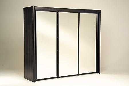 Parisot Maya Wenge Wardrobe 2 Sliding Doors/ One Mirror/ 230 cm with Particle Boards Plus Paper Foil, 233.2 x 217.3 x 61.4 cm