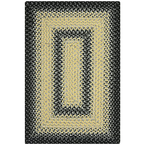 Safavieh Braided Collection BRD311A Hand Woven Black and Grey Area Rug, 2 feet by 3 feet (2' x 3')