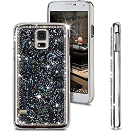 Galaxy S5 Case, ikasus Shiny Sparkle Bling Glitter Handcraft Crystal [Rhinestone Diamond] Hard Plastic Plated Slim Case Full Protective Case for Samsung Galaxy S5 / Galaxy SV i9600 (Dark Blue)