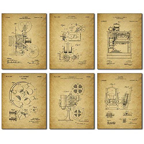 Home Theater Patent Wall Art Prints - Set of Six Vintage Movie Film Photos (Vintage Film Reel compare prices)
