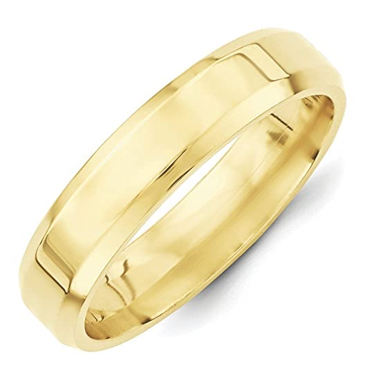10k Yellow Gold 5mm Bevel Edge Comfort Fit Band Ring - Ring Size Options Range: H to Z