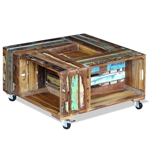 Vidaxl tavolino da scrivania in legno massiccio in legno riciclato 70x 70x 35cm salotto