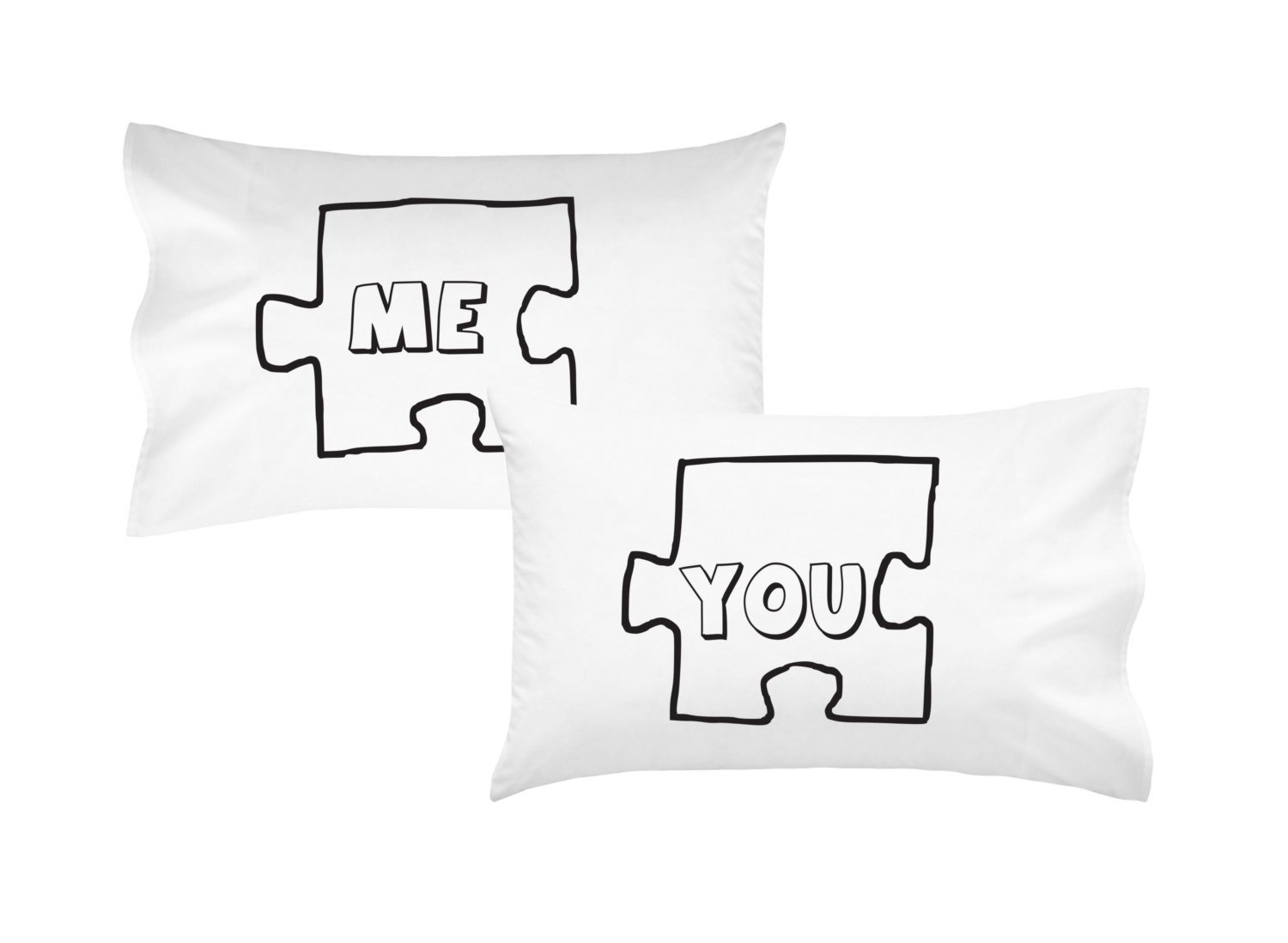 Oh, Susannah Puzzle Piece Couples Pillowcases Ideal Long Distance Relationship Gift Boyfriend Girlfriend Present His & Hers Wedding Anniversary Gift (2 Standard/Queen Pillowcases)