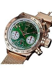 Konigswerk Men's Watch Rose Gold Bracelet Green Dial Chronograph AQ100126G