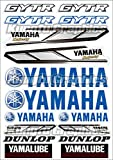 Kungfu Graphics Yamaha Dunlop GYTR Micro Sponsor Logo Racing Sticker Sheet Universal (7.2x 10.2 inch), Blue