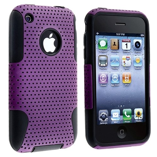 Hybrid Case compatible with Apple® iPhone® 3G / 3GS, Black Skin / Purple Meshed Plastic