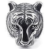 KONOV Bijoux Bague Homme - Gothique Tigre - Acier Inoxydable - Anneaux - Fantaisie - pour Homme - Couleur Noir Argent - Taille 62