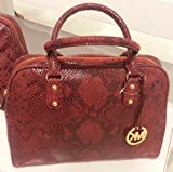 Michael Kors Large Signature Python Embossed Red Leather Satchel